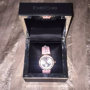 Bebe rose gold watch with pink embellished strap